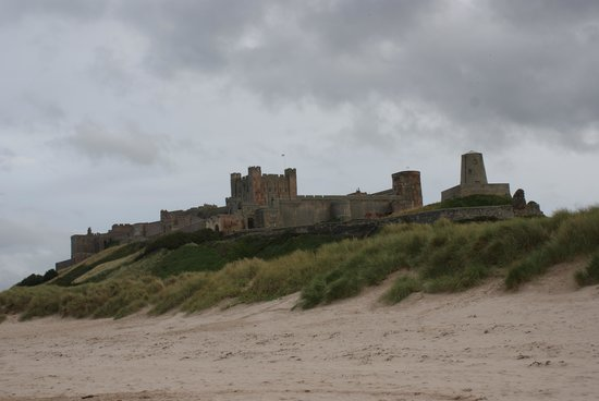 Bamburgh Castle: Castle view from the beach.