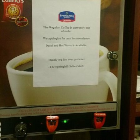 SpringHill Suites Providence West Warwick: Coffee was broken for at least two days during my stay.