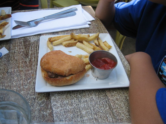 Cody's: Kid's burger is like a slider on a and the fries smell like fish.  Suspecting that they fry in t