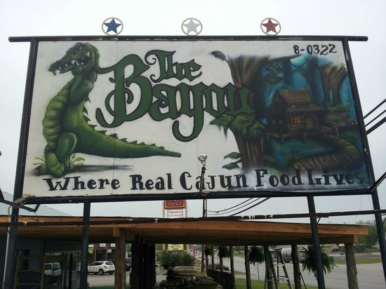 The Bayou Cajun Eatery: Sign out front, hand painted locally!
