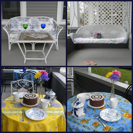 The Flying Frog Bed and Breakfast: Front Porch where breakfast is served in warm weather