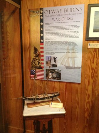 North Carolina Maritime Museum: Scale model of privateer operated by Otway Burns during War of 1812