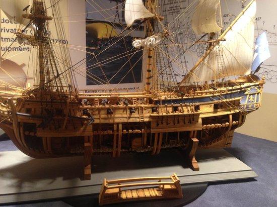 North Carolina Maritime Museum: Cutaway of Blackbeard's ship Queen Anne's Revenge.