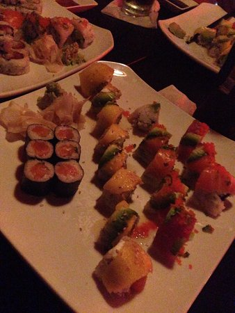 Ronin Sushi and Bar : Salmon Roll, Mango Salmon Special Roll , and Rainbow Roll