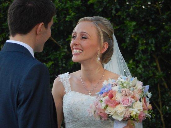 Fig Tree Restaurant: Happy bride at Fig Tree garden wedding