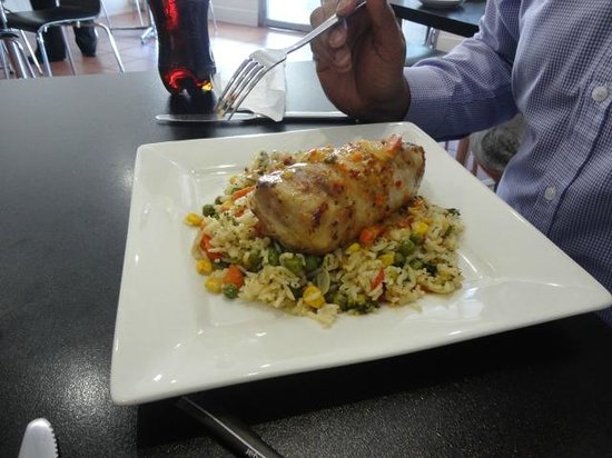 Cafe Ninety Four: Roast chicken roll and fried rice