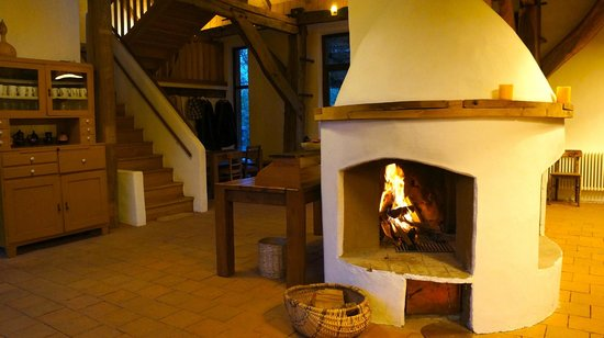 Viscri 125: Fireplace in the dining area!Used to be a barn!