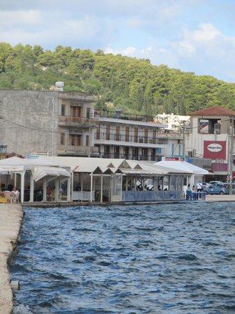 Kalafatis: View of the restaurant from Drapano Bridge