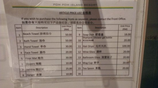 Pom Pom Island Resort & Spa: Price list... In case you want to buy a hair-dryer...