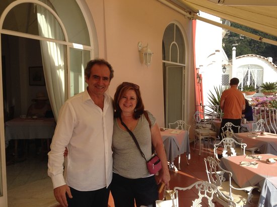 With Lorenzo, the proprietor of Casa Albertina, the morning we left Positano!