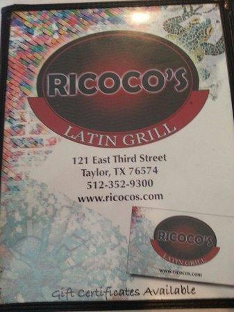 Ricoco's Latin Grill: Menu