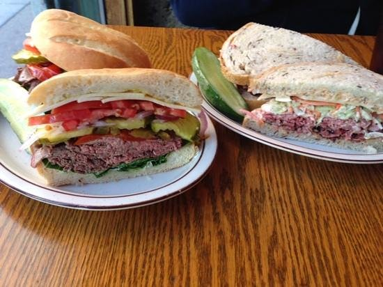 Sam LaGrassa's: roast beef on left, combo on right