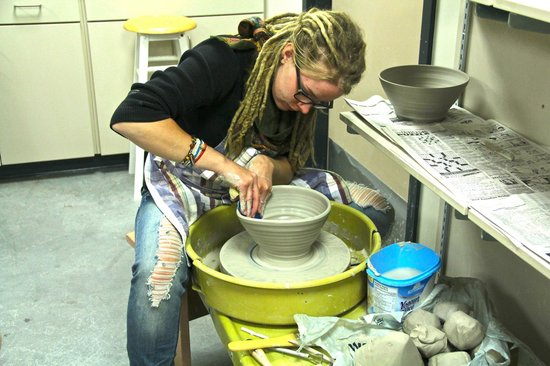 Cape Breton Centre for Craft and Design : Sarah Cheetham, an Artist in Residence here at the Centre, works her magic on the pottery wheel.