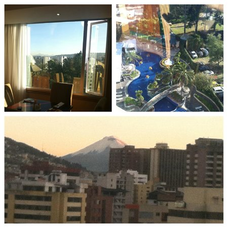 JW Marriott Hotel Quito : breakfast in the executive lounge,  the pool, and view of volcano