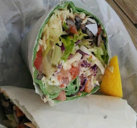Timoti's Seafood Shack: And for you health nuts, SHRIMP SPINACH WRAP.