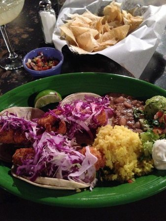 Crystal Park Cantina : Fish Tacos with the incredible rice and beans