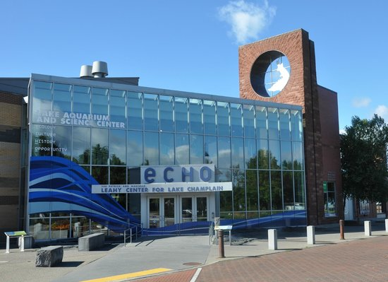 ECHO Leahy Center for Lake Champlain: The front of ECHO Lake Aquarium and Science Center on a sunny day, on the Burlington waterfront.