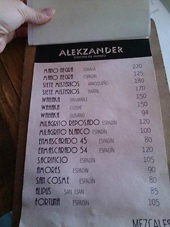 Alekzander: menu