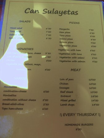 Bar Can Sulayetas: Menu offerings (lunchtime) as at October 2013