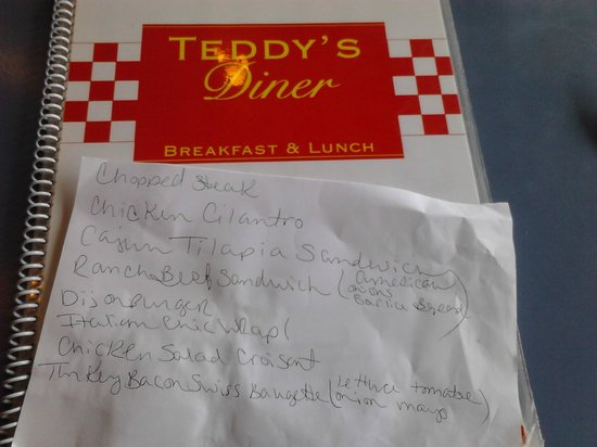 Teddy's Diner: We were handed this piece of paper with a list of specials.