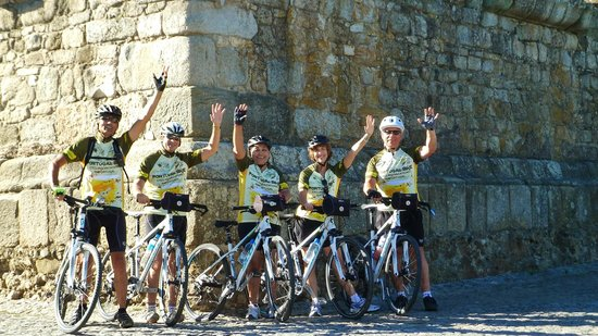 Portugal Bike: Standing in front of the ruins of a Roman Temple dating back before the time of Stonehenge.