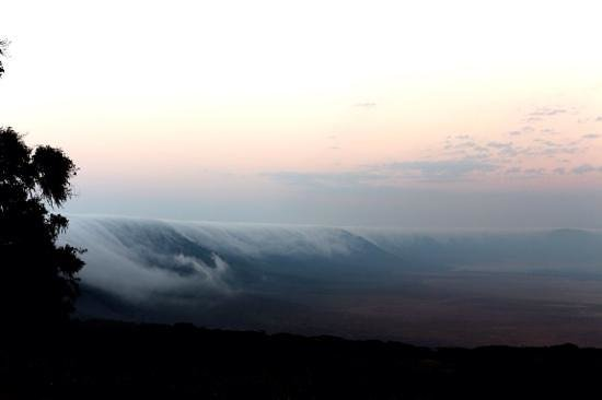 Ngorongoro Sopa Lodge: the fog covers the rim of the crater early in the morning
