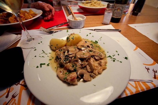 La Pappardella : carbonara and salmon pastas, and the wonderful scaloppine with mushrooms