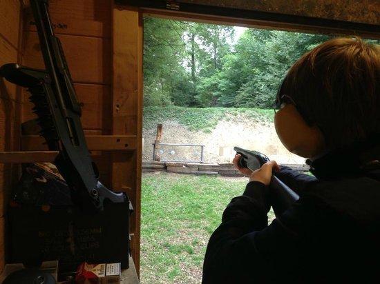 Grotgun Shooting Range: Shooting a 10-gauge shotgun.