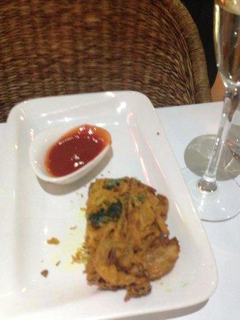 Malabar Restaurant: onion and spinach bhaji