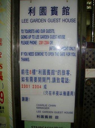 Lee Garden Guest House: signage