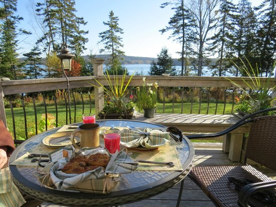 Three Pines Bed & Breakfast and Farm: Delicious breakfast with a view