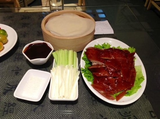 Jingzun Peking Duck Restaurant : the famous roast duck, with scallion and tortilla-like wrap.