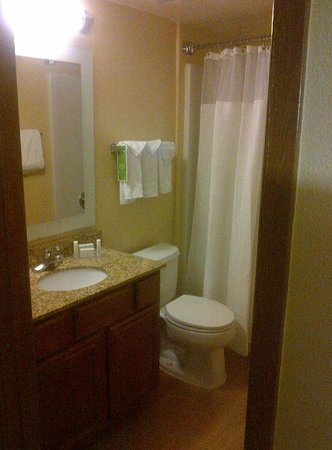 TownePlace Suites Houston Northwest: Bathroom of suite, small sink, shower over tub