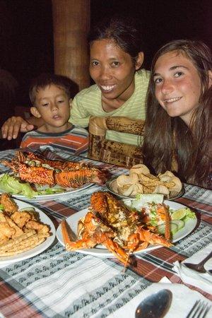 Kuta Bay Homestay : repas de Lobster chez Susi