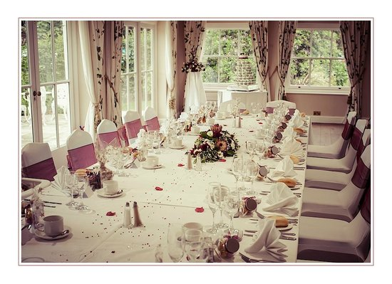 Hadlow Manor: Our Wedding Breakfast table, arranged by our Master of Ceremonies