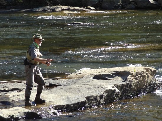 Dillsboro Inn: Flyfishing in the Tuskasegee River next to the inn