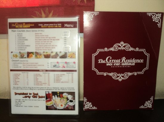 Great Residence Hotel : They provide this menu so you can request for a room service.