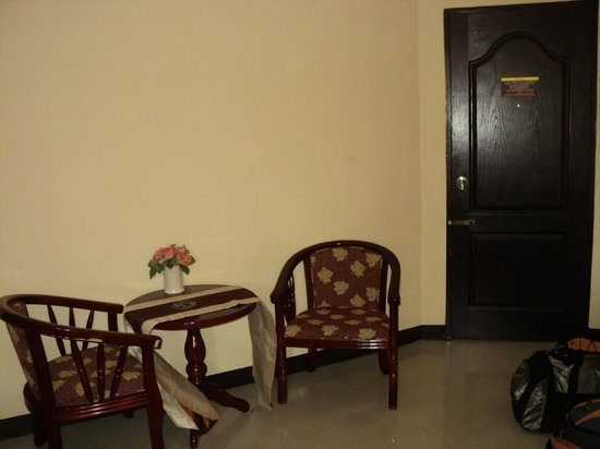 Great Residence Hotel : They have a small table with chairs set between the door and the big cabinet (not in the picture