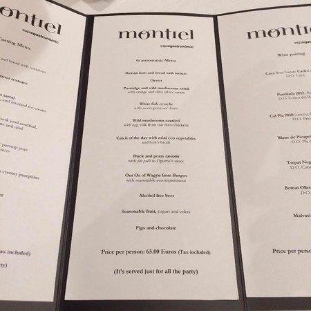 Restaurant Montiel: Меню. Берите среднее. Справа вина