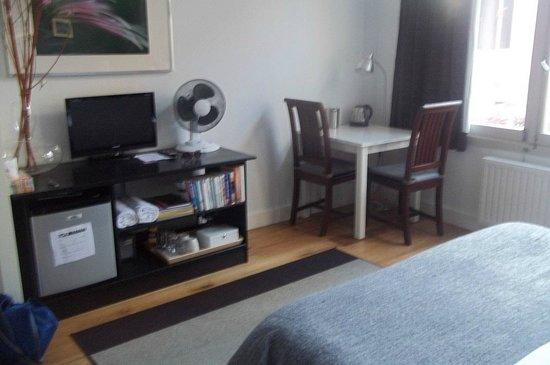 Velvet Amsterdam Bed and Breakfast : Room setup, fridge, fan, tv, desk