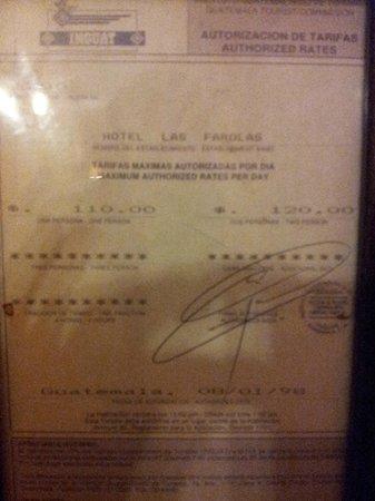 Hotel Las Farolas: tarifa