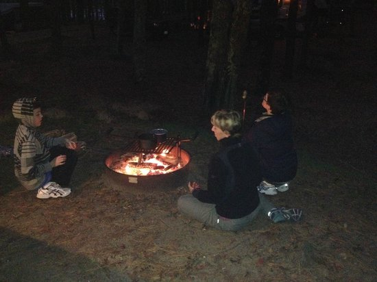 Nickerson State Park Campgrounds: Cooking hot dogs over the fire pit!