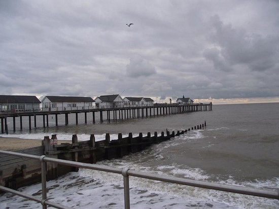 Southwold Pier: Side view of the pier