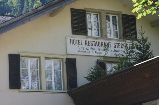 Hotel Stechelberg sign