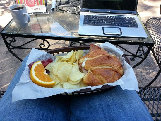Cream & Sugar Cafe: Ham and blu cheese mango croissant. $7.50