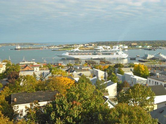 Portland Observatory: View of our cruise ship from the top