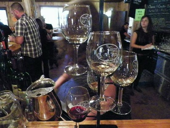 The Saratoga Winery: tower of glasses