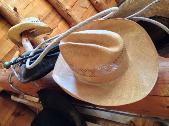 Cowboy hats that you can borrow while staying at the ranch