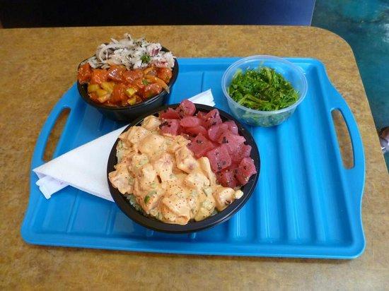 Hawaiian Poke Bowl: small 2 item combo, medium 2 item combo, seaweed salad