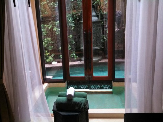 The Baray Villa: Access to our villas private pool is via our front door and spa is from inside our living room
